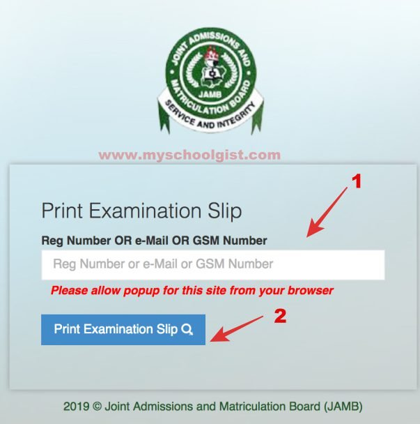 2020 Joint Admissions and Matriculation Board (JAMB) Examination Slip Re-Printing Procedure