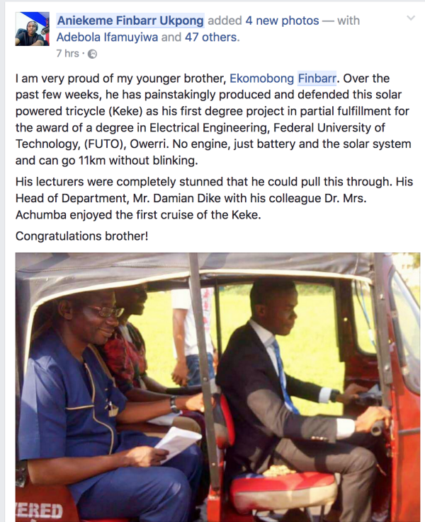 FUTO Final Year Student Builds Solar-Powered Keke NAPEP [PHOTOS]