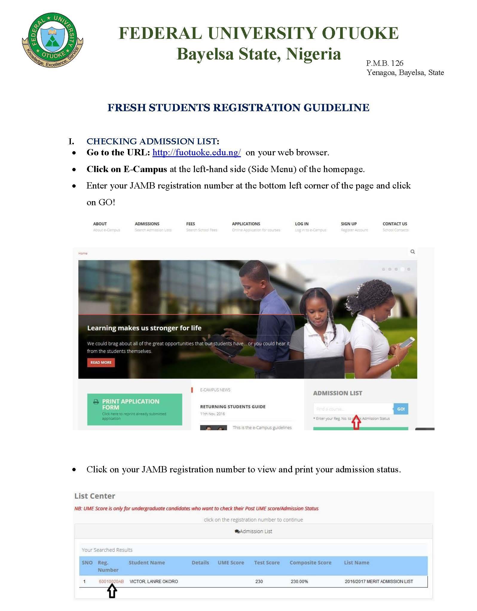 FUOTUOKE Fresh Students Registration Procedure - 2016/2017
